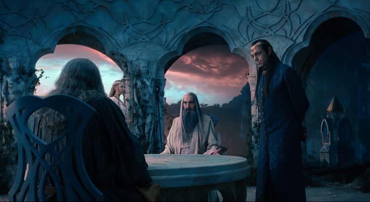 "(L-r) CATE BLANCHETT as Galadriel, CHRISTOPHER LEE as Saruman and HUGO WEAVING as Elrond in the fantasy adventure ""THE HOBBIT: AN UNEXPECTED JOURNEY,"" a production of New Line Cinema and Metro-Goldwyn-Mayer Pictures (MGM), released by Warner Bros. Pictures and MGM."