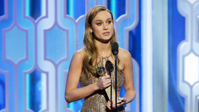 "73rd ANNUAL GOLDEN GLOBE AWARDS -- Pictured: (l-r) Brie Larson, ""Room"", Winner, Best Actress - Motion Picture, Drama at the 73rd Annual Golden Globe Awards held at the Beverly Hilton Hotel on January 10, 2016 -- (Photo by: Paul Drinkwater/NBC)"